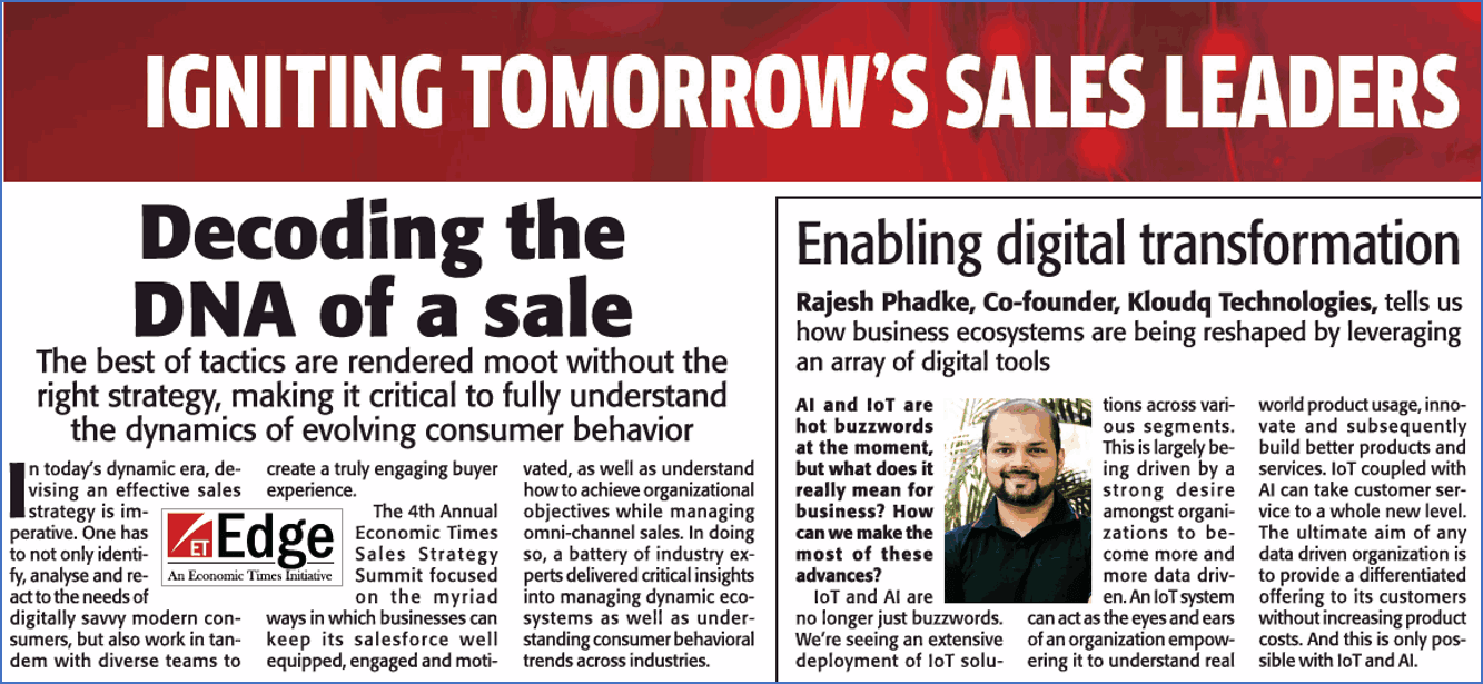 Kloudq's Co-Founder, Mr. Rajesh Phadke's Interview Featured In Economic Times As A Part Of The ET Sales Strategy Summit 2018